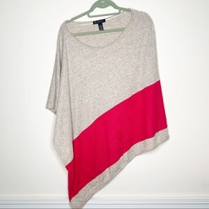 INC Wool Blend Color Block Poncho Pink and Grey